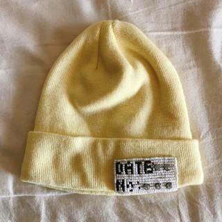 イーハイフンワールドギャラリー(E hyphen world gallery)のビーズロゴのニットの帽子(キャップ)