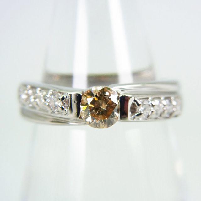 Pt900ライトブラウン ダイヤモンド リング 8号[g136-3] レディースのアクセサリー(リング(指輪))の商品写真