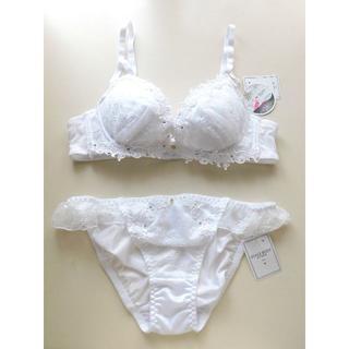 新品♥ホワイト エレガントレース  B75 ブラ&ショーツセット 盛り 白(ブラ&ショーツセット)