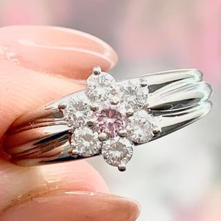 ★ファンシー★ ピンクダイヤ 0.115ct フラワー ダイヤモンド リング(リング(指輪))