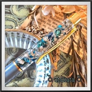 (no35ハーバリウムボールペン)ゴールドペチコート(ドライフラワー)