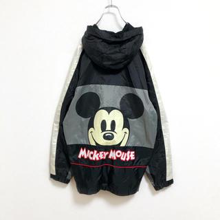 ディズニー(Disney)の【廃盤】オールドディズニー ミッキー ナイロンジャケット メンズ L 古着 黒(ナイロンジャケット)