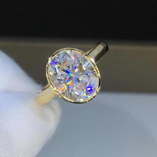【newデザイン】輝くオーバルモアサナイト ダイヤモンド リング(リング(指輪))