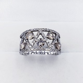 1.08ct 0.71ct 18金ホワイトゴールド ダイヤモンドリング 5.6g(リング(指輪))