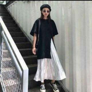ビッグシルエット黒T+プリーツスカートセット(M)(ロングスカート)