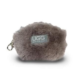 アグ(UGG)の【新品】アグ  UGG ファー ポーチ コインケース 本革 グレー 灰色(コインケース)