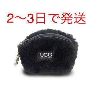 UGG - 【新品】アグ  UGG ファー ポーチ コインケース 本革 ブラック 黒