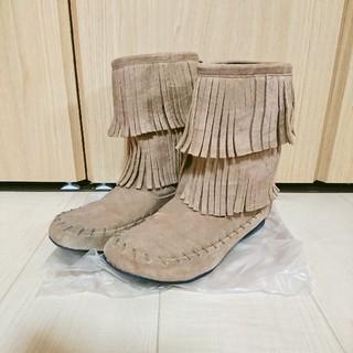 チヨダ(Chiyoda)の美品 Chiyoda チヨダ フリンジブーツ ベージュ L 24cm(ブーツ)