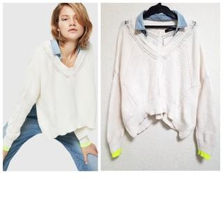 ディーゼル(DIESEL)の美品 DIESEL ニット セーター デニム 襟 ミックス ホワイト(ニット/セーター)