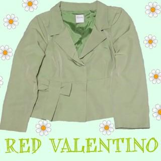 レッドヴァレンティノ(RED VALENTINO)の美品 RED VALENTINO  テーラードジャケット グリーン 緑 リボン(テーラードジャケット)