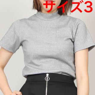プニュズ(PUNYUS)のPUNYUS(プニュズ)  ラメハイネックTシャツ シルバー サイズ3(Tシャツ(半袖/袖なし))