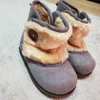 フタフタ(futafuta)のfutafutaブーツ 一度着用のみ 男の子 女の子 15cm グレー ファー(ブーツ)