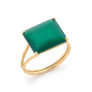 新品 未使用 K10 イエローゴールド グリーンアゲート 大粒 指輪 リング(リング(指輪))