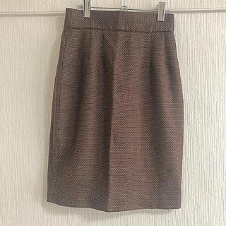 クリスチャンディオール(Christian Dior)のChristian Dior ブラウン チェック タイトスカート(ひざ丈スカート)