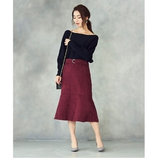 ティティベイト(titivate)のur's ユアーズ ベルト付フレアコーデュロイスカート(ひざ丈スカート)