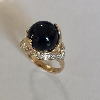 14k ブラックコーラル(黒珊瑚)ダイヤモンドリング(リング(指輪))