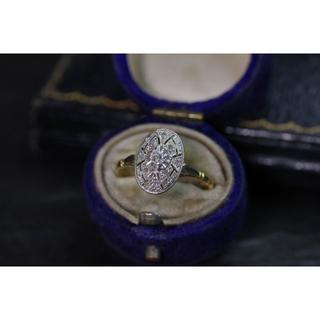 #024 フランスアンティーク プラチナ&K18 ダイヤリング(リング(指輪))