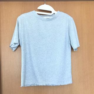 ジーユー(GU)のリブTシャツ ラメ入りグレー GU (Tシャツ(半袖/袖なし))
