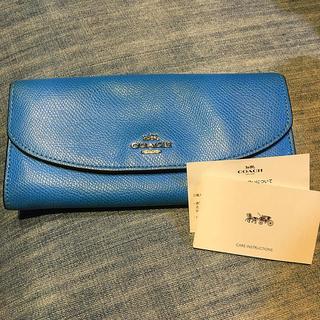 コーチ(COACH)のさらにお値下げ❣️コーチ 花柄 水色 長財布(財布)