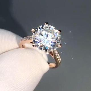 【5カラット 】輝く モアサナイト ダイヤモンド リング(リング(指輪))