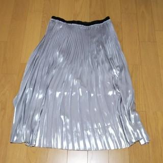 ザラ(ZARA)のZARA プリーツスカート シルバー 30(ロングスカート)