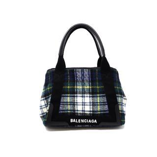 バレンシアガバッグ(BALENCIAGA BAG)のバレンシアガ 339933 ネイビーカバS ウールチェック(トートバッグ)