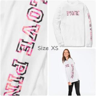 ヴィクトリアズシークレット(Victoria's Secret)の【新品】VS PINK ロンT タイダイ 白 XS(Tシャツ(長袖/七分))