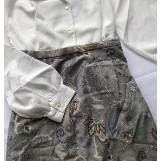 ロキエ(Lochie)のアンティーク ペイズリー くすみペールブルー ブルーグレー スカート(ロングスカート)
