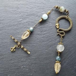 「水縹の蛇」カイヤナイトとアクアマリンの天然石ペンデュラム(バッグチャーム)