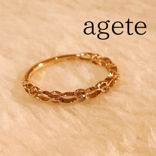 アガット(agete)の【アガット】agete*リング*7号*K10*ゴールド*ダイヤ*0.02ct(リング(指輪))