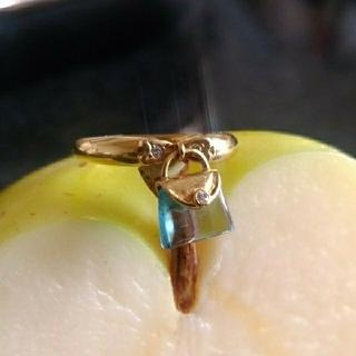ブルートパーズ リング K18 ダイヤモンド リボン 鞄(リング(指輪))