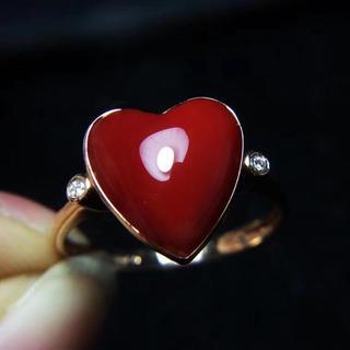 【高級】赤珊瑚 リング k18 ダイヤ 12*11.6mm(リング(指輪))