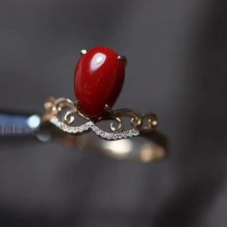 【高級】赤珊瑚 リング k18 ダイヤ 9.6*6.6mm(リング(指輪))