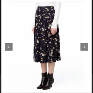 ステュディオス(STUDIOUS)のCLANE シフォン花柄スカート ネイビー Sサイズ(ひざ丈スカート)