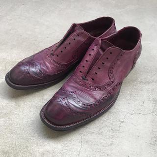 アッシュペーフランス(H.P.FRANCE)のアッシュペーフランス ロッコピー 紫 パープル ローファー 革靴 ドレスシューズ(ローファー/革靴)