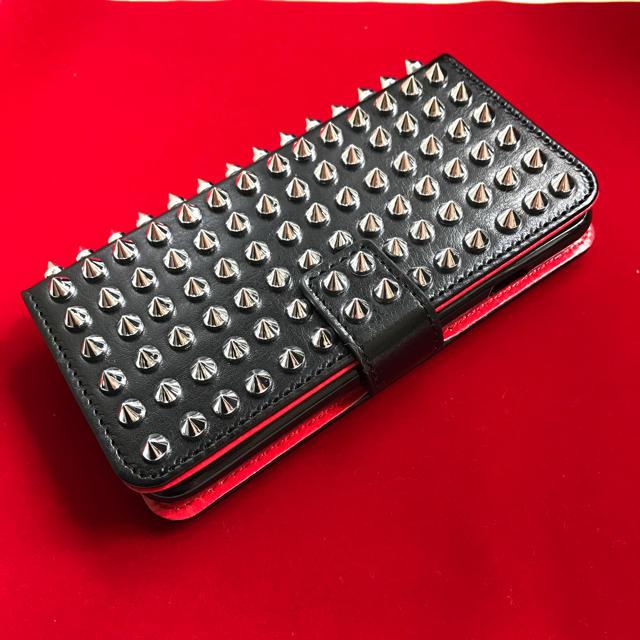 【新品未使用】iphone7&8ケース手帳型スタッズ ルブタン風 シルバーの通販