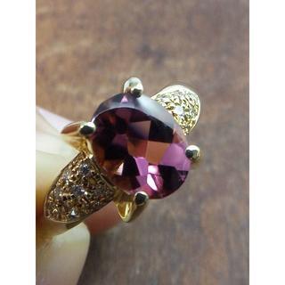 可愛いピンクのバフトップ!K18ピンクトルマリンリング 10.5号(リング(指輪))