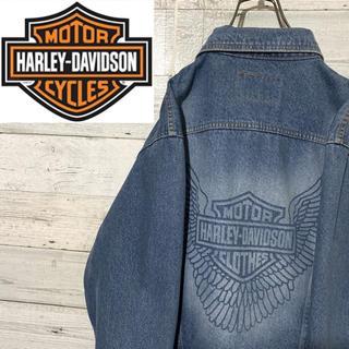 ハーレーダビッドソン(Harley Davidson)の【レア】ハーレーダビッドソン☆ビッグロゴ デニムジャケット Gジャン(Gジャン/デニムジャケット)