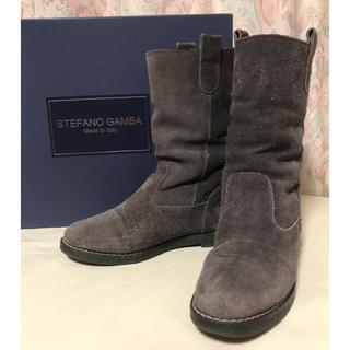 STEFANO GAMBA スエードショートブーツ グレー 35(ブーツ)
