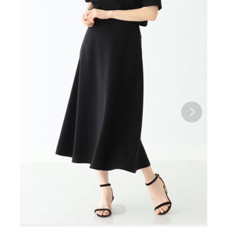 デミルクスビームス(Demi-Luxe BEAMS)の新品【Demi-Luxe  BEAMS】トリアセ フレアスカート ブラック38(ひざ丈スカート)