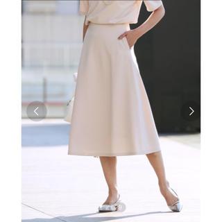 デミルクスビームス(Demi-Luxe BEAMS)の新品【Demi-Luxe  BEAMS】トリアセ フレアスカート ベージュ 38(ひざ丈スカート)