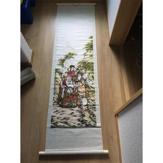 ジャカード織物掛軸七福神和室正月恵比寿インテリア(彫刻/オブジェ)