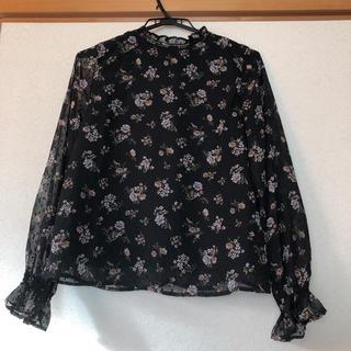 花柄 ドッド ブラウス 黒ブラック(シャツ/ブラウス(長袖/七分))