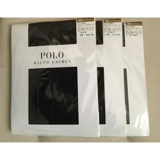 ポロラルフローレン(POLO RALPH LAUREN)の新品未開封 ポロラルフローレンストッキング3足セットL〜LL(黒ブラック系)(タイツ/ストッキング)