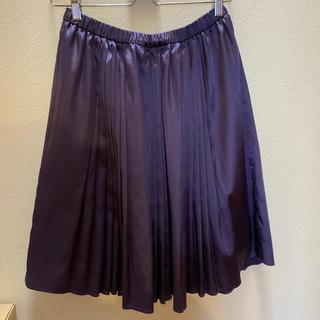 ユナイテッドアローズ(UNITED ARROWS)のグラムス サテンパープル プリーツスカート(ひざ丈スカート)