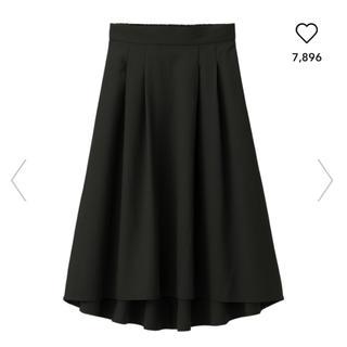 GU - GU/ジーユー イレギュラーヘムタックフレアスカート ブラック 黒 XL