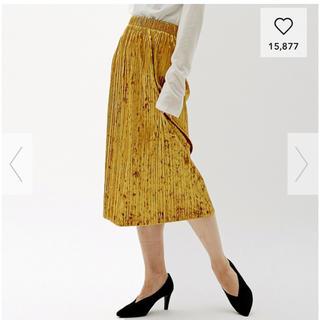 ジーユー(GU)のクラッシュベロアプリーツスカートS(ロングスカート)