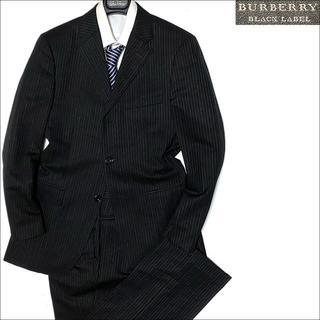 バーバリーブラックレーベル(BURBERRY BLACK LABEL)の10317 超美品 バーバリーブラックレーベル ストライプスーツ ブラック38R(セットアップ)