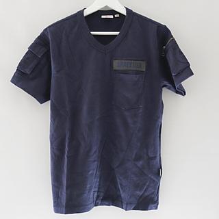 アヴィレックス(AVIREX)のAVIREX Vネック ファティーグ 半袖 Tシャツ ネイビー メンズ(Tシャツ/カットソー(半袖/袖なし))