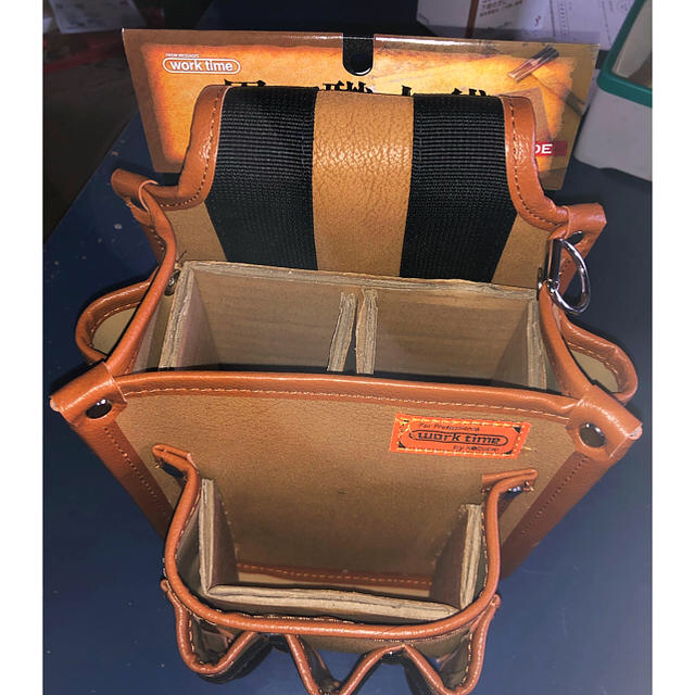 コヅチ レザー電工袋2段工具差付 /男の職人袋 スポーツ/アウトドアの自転車(工具/メンテナンス)の商品写真